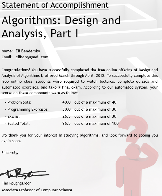 Coursera/Stanford online algorithms I course - a