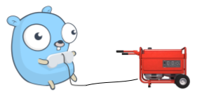 Gopher sitting and controlling an electrical generator