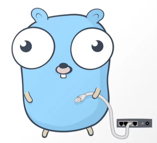 Gopher holding an Ethernet cable plugged into the wall