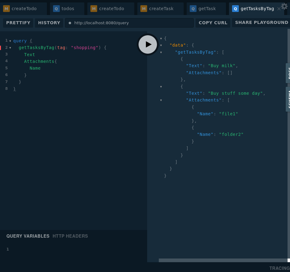 Screenshot of the GraphQL playground interacting with our server